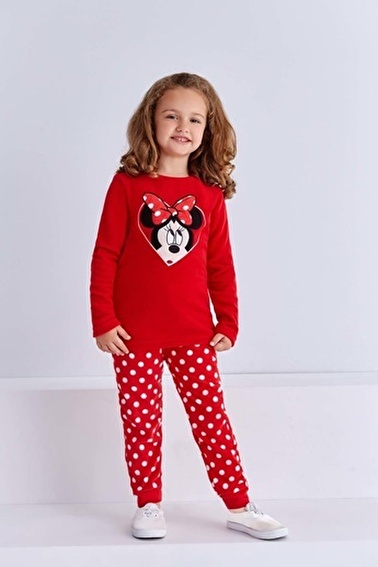 Mickey Mouse Mickey & Minnie Mouse Lisanslı Kız Çocuk Polar Takım Pembe Kırmızı